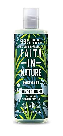 A clear plastic bottle and cap, label has decorated graphic images of blue rosemary flowers and green rosemary leaves on a dark green background. Label shows faith in nature rosemary conditioner