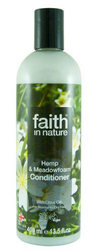A clear plastic bottle with black cap. Label has photo image of white hemp flowers and green leaves, Label shows faith in nature hemp and meadowfoam conditioner.