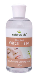 Clear plastic bottle with white cap. Brown and white label showing women's face. Label shows natures aid witch hazel.