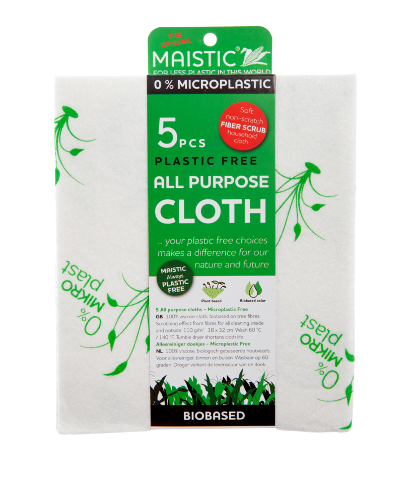 A pack of white cloths with green plant print packaged in a green card wrap. Label shows maistic micro plastic free all purpose cloths.