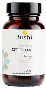 Brown glass jar with black lid. Label shows fushi Detoxipure.