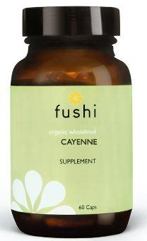 Brown glass jar with black lid. Label shows fushi organic cayenne.