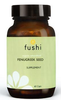 Brown glass jar with black lid. Label shows fushi Fenugreek seed.