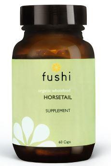 Brown glass jar with black lid. Label shows fushi Horsetail.