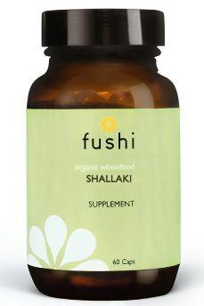 Brown glass jar with black lid. Label shows fushi Shallaki.