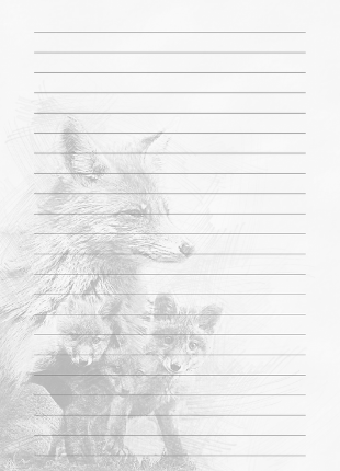 lined note book page with black and white watermark image of fox and cubs