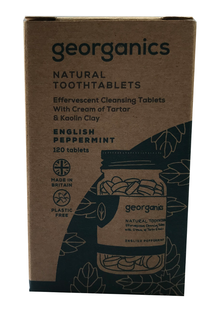 A natural brown card box packaging. Labelling shows georganics natural tooth tablets english peppermint.