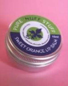 silver aluminium jar, blue and green label showing pure nuff stuff lip balm