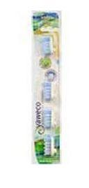 clear plastic packed cardboard backed containing 4 toothbrush heads, labelling shows yaweco soft nylon
