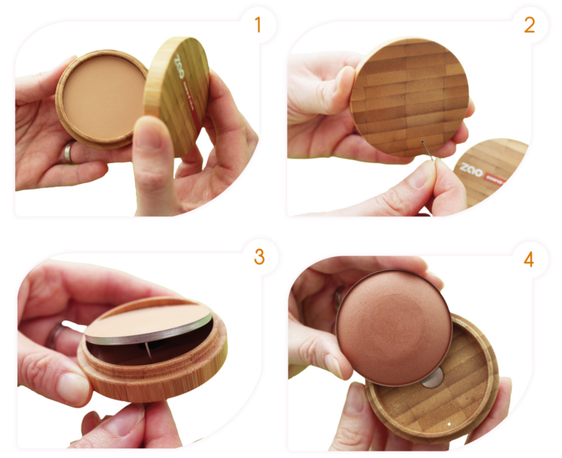 4 step picture instructions showing a powder compact being removed and refilled