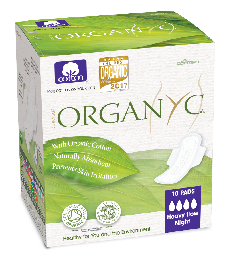 green and white box packaging of 10 organyc pads, night, heavy flow