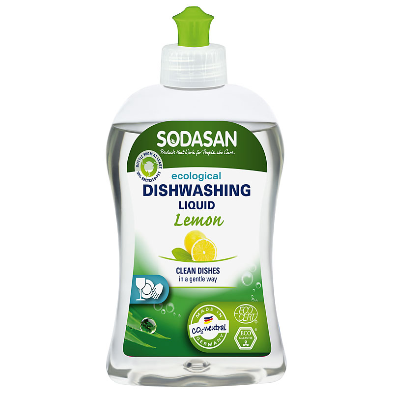 clear plastic bottle with green squirty top, green label showing sodasan dishwashing liquid lemon
