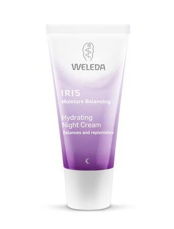 A purple squeezy tube with white cap. Labelling shows weleda iris hydrating night cream.