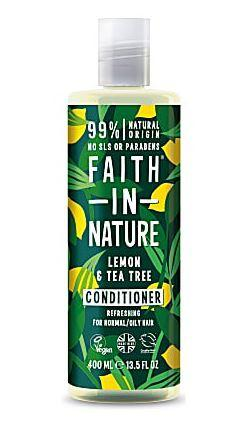A clear bottle with dark green label and white cap. Decorated label  with yellow lemons and green leaves. Label shows faith in nature lemon and tea tree conditioner.