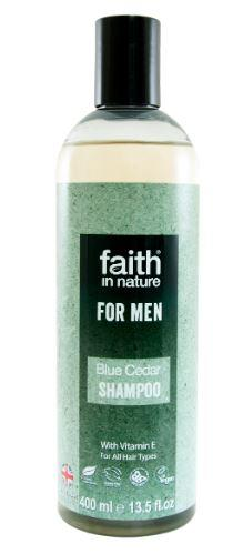 A clear plastic bottle with black cap. Blue and black label shows faith in nature blue cedar shampoo for men