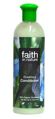 A clear plastic bottle with green cap, label has photo image of blue rosemary flowers and green rosemary bush. Label shows faith in nature rosemary conditioner.
