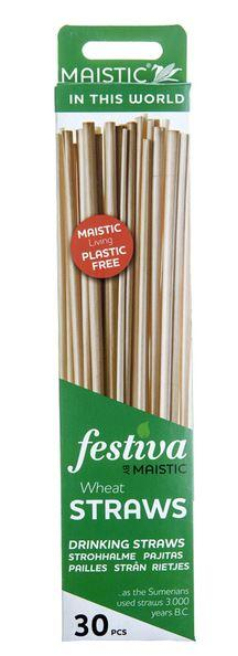 A green and white card box with image of natural wheat straws. Label shows maistic wheat drinking straws.