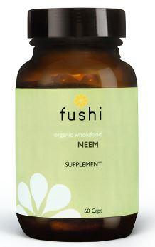 Brown glass jar with black lid. Label shows fushi Neem.