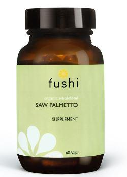 Brown glass jar with black lid. Label shows fushi Saw palmetto.