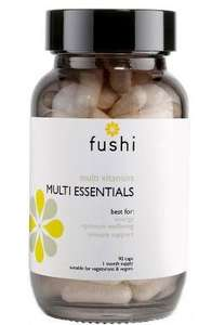Brown glass jar with black lid. Label shows fushi Multi Essentials