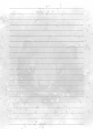 lined notebook page with black and white mink watermark picture