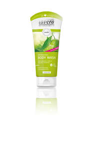 Green plastic squeezable tube bottle, label showing lavera refreshing body wash lime and verberna