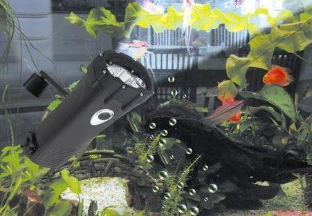 black heavy duty torch underwater in a fish tank