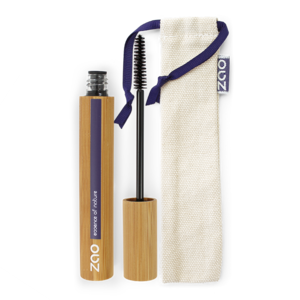 mascara in a bamboo case open with mascara want to the side with natural cotton pouch, label shows zao