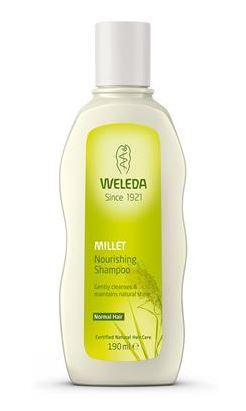A white plastic bottle with white cap. Green label shows Weleda Millet Nourishing Shampoo..