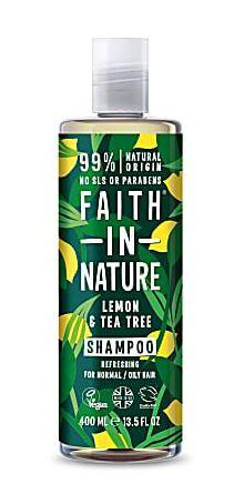 A clear plastic bottle with white cap. Dark green label decorated with images of lemons and green leaves. Label shows faith in nature lemon and tea tree shampoo in white writing.