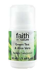 A white roll on bottle of deodorant with white cap. Green text on label shows faith in nature green tea and aloe vera roll on deodorant.