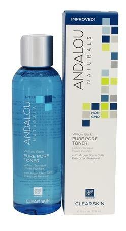 A blue bottle with silver cap. Label shows andalou willow bark pure pore toner. Blue and white box packaging.
