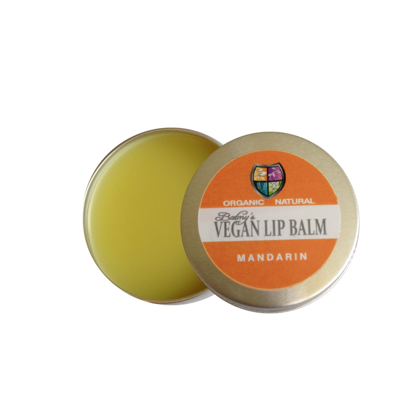 An open round silver aluminium tin showing pale yellow balm, lid resting on top has orange an white label. label shows balmys vegan lip balm mandarin.
