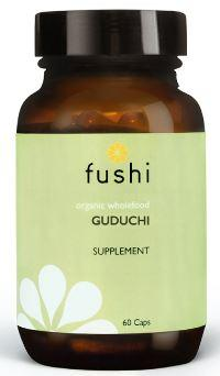 Brown glass jar with black lid. Label shows fushi Guduchi.