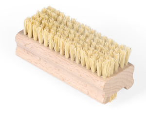 A natural wood rectangular nail brush with natural cream sisal bristles on both sides. Approx 93mm length and 35mm wide.