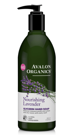 green plastic bottle with black pump cap. White label showing picture of purple lavender. Label reads Avalon Organics Lavender glycerin hand soap.