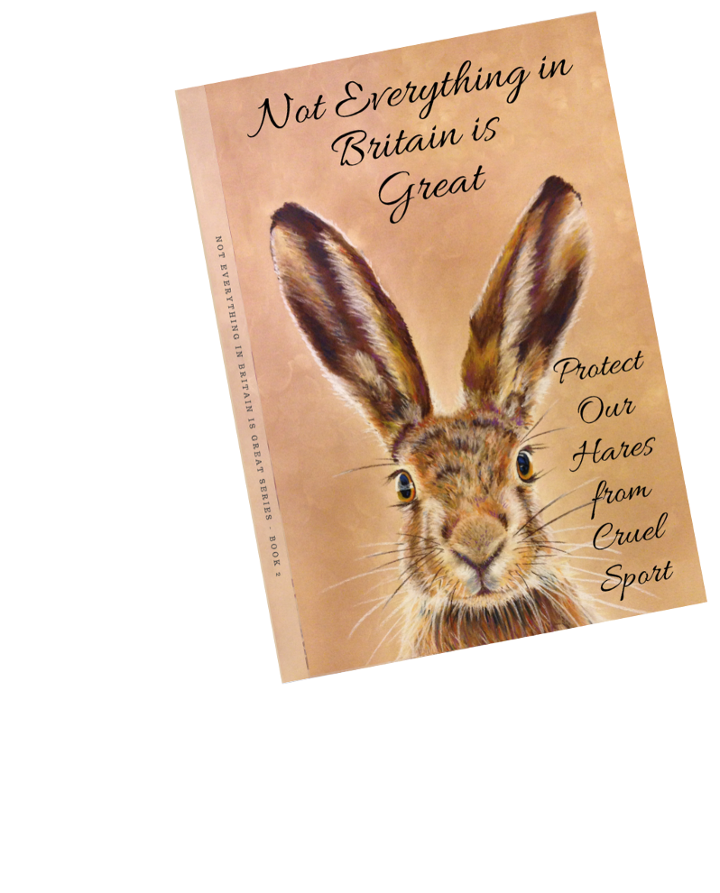 watercolour picture of a brown hair from the shoulders up on a light brown water colour effect background. Title reads Not everything in britain is great protect our hares from cruel sport