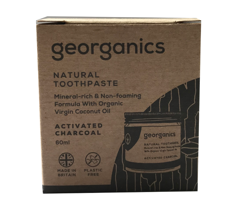 A natural brown card board box packaging with image of jar. Label shows georganics natural toothpaste activated charcoal