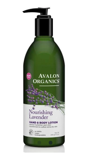 A green plastic bottle with black pump dispenser. Label shows lavender flowers and purple text Nourish lavender hand & Body lotion. Avalon Organics in white.