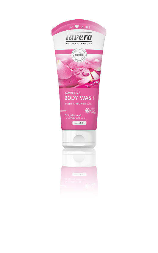 Pink plastic squeezable bottle showing lavera organic pampering body wash rose