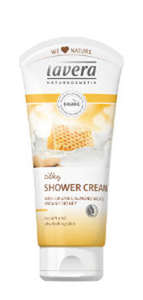 white squeezable plastic bottle yellow label showing lavera silky shower cream almond milk and honey
