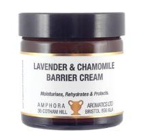 brown glass jar with black cap, white label showing amphora lavender and chamomile barrier cream