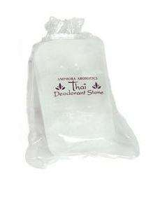 White deodorant stone in draw string pouch, label showing amphora thai deodorant stone
