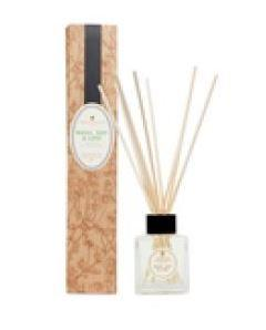 natural brown decorated box and clear glass bottle with ratten reeds labelled amphora basil bay and lime reed diffuser