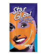 purple sachet with image of a womans face covered in the face mask