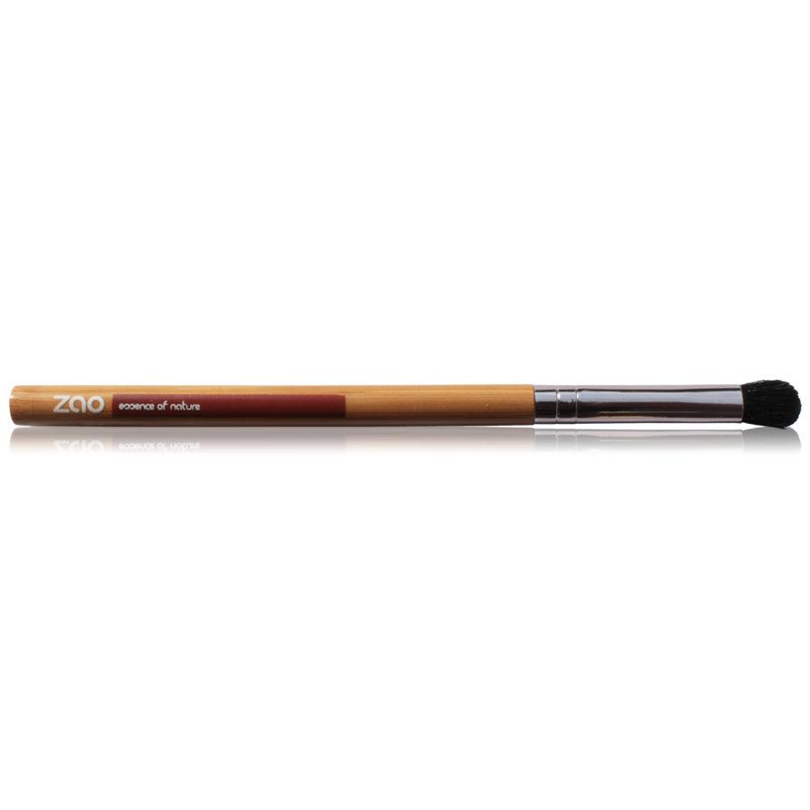 blending brush with light bamboo and rose gold handle and black synthetic hair, handle shows Zao
