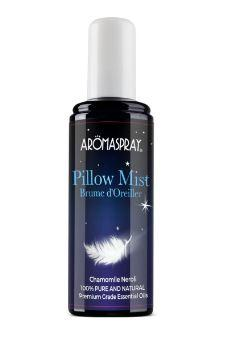 black plastic bottle with tall white cap, label image of a white floating feather. Bottle shows Aromaspray pillow mist.