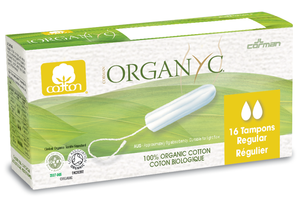 white and green box packaging showing cotton tampon, yellow label indicator to show light flow. Label shows Organyc.