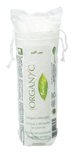 A clear biodegradable bag with 70 organic cotton wool round pads, label shows Organyc