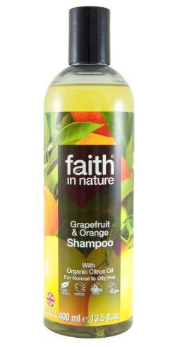 clear plastic bottle with black cap. Label shows photo image of orange and grapefruits. Faith in nature grapefruit and orange shampoo
